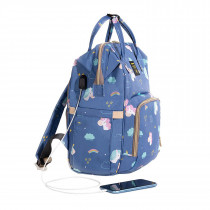 Diaper Bag With Usb - Unicorn Blue