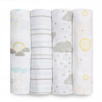 Essentials 4 Pack Classic Muslin Swaddles - Partly Sunny