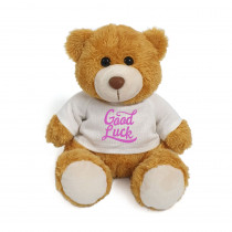 Plush Teddy Golden Brown with Good Luck on White