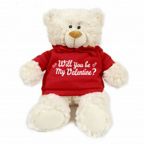 Teddy bear with trendy red hoodie - Will you be my Valentine