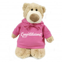 Mascot Bear with Congratulations on Pink