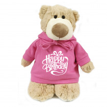 Mascot Bear with Happy Birthday on Pink Hoodie