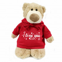 Mascot bear with trendy red hoodie - I love you
