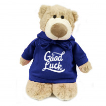 Mascot Bear with Good Luck on Blue