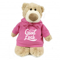 Mascot Bear with  Good Luck on Pink