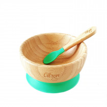 Bamboo Bowl Suction + Spoon - Green