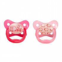 PreVent Glow in the Dark BUTTERFLY SHIELD Pacifier, Stage 1  0-6M - Pink, 2-Pack
