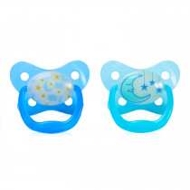 PreVent Glow in the Dark BUTTERFLY SHIELD Pacifier, Stage 2 6-12M - Blue, 2-Pack