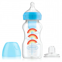 9oz/270 ml PP Wide-Neck Options+ Blue Rainbows Bottle w/ Sippy Spout (+L3 Nipple in Bottle), 1-Pack