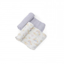 Deluxe Muslin Swaddle 2 Pack-Rainbow Gingham