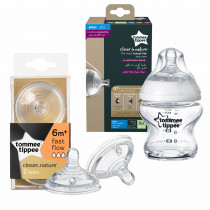 Tommee Tippee Closer to Nature Glass Feeding Bottle (150ml) +  Closer to Nature Easi-vent Fast Flow Teats (2's)