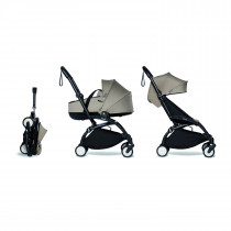 Complete BABYZEN stroller YOYO2 FRAME Black & 0+ newborn pack Taupe and 6+ color pack