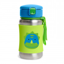 Zoo Stainless Steel Straw Bottle-Dino