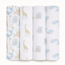Essentials 4 Pack Swaddles - Natural History