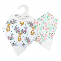 Double Sided Organic Chew Bib - Oh Deer / Tulip