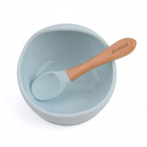 Silicone Bowl + Spoon Set - Ice Blue
