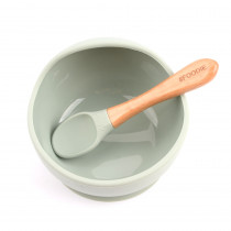 Silicone Bowl + Spoon Set -  Sage