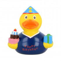 Bath Toy-Birthday Boy Duck - Blue/yellow