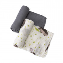 Deluxe Muslin Swaddle 2 Pack  Set - Charcoal Hedgehog