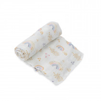 Deluxe Muslin Swaddle Single - Rainbows & Raindrops