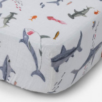 Cotton Muslin Crib Sheet-Shark