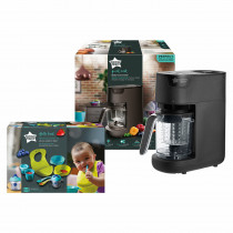 Tommee Tippee Quick Cook Baby Food Steamer Blender (Black) and Weaning Kit