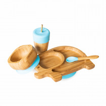 Elephant Plate, Straw Cup, Bowl & Spoon combo in Blue