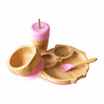 Owl Plate, Straw Cup, Bowl & Spoon combo in Pink