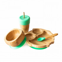 Owl Plate, Straw Cup, Bowl & Spoon combo in Green