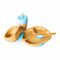 Toddler Plate, Straw Cup, Bowl & Spoon combo in Blue