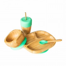 Toddler Plate, Straw Cup, Bowl & Spoon combo in Green