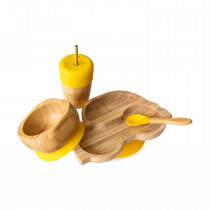 Car Plate, Straw Cup, Bowl & Spoon combo in Yellow