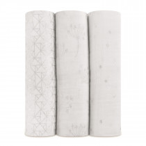 Classic Metallic 3 Pack Swaddles- Silver Deco