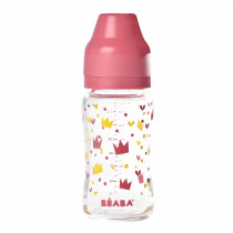 Wide Neck Glass Bottle 240mlYellow/Pink Crown
