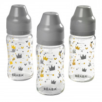 Set of 3 Wide Neck Glass Bottles 240mlYellow/Grey Crown