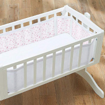 Mesh Crib Liner - Twinkle Twinkle − White With Pink Stars