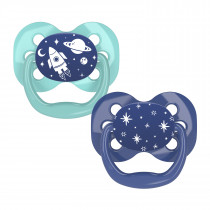 Advantage Pacifier - Stage 1, Blue Space, 2-Pack