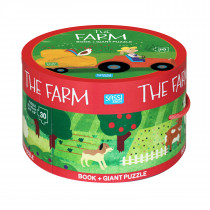 Book And Giant Puzzle Round Box -The Farm