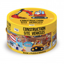 Book And Giant Puzzle Round Box -Construction Site Vehicles