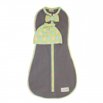 Woombie Deluxe Swaddle - Green Argyle Boy with Hat Set ( 5-13 lbs)