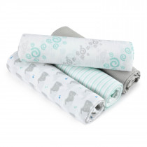 Essentials 4 Pack Classic Muslin Swaddles - Baby Star