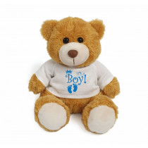 Golden teddy bear with blue It's a Boy! on white T-shirt