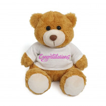 Plush Teddy Golden Brown with Congratulations on White