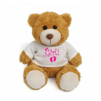 Golden teddy bear with pink It's a Girl! on white T-shirt
