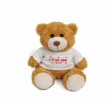 Golden teddy bear with red I love you on white T-shirt