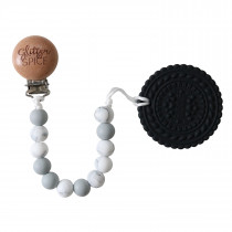 Teether with Clip - Cookie Luna Grey