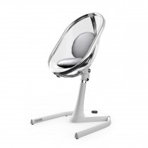 Moon Full Set (Highchair + Seat Pad + Cushion Set + Footrest)-Silver - White Frame