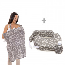 Original Pillow and Nursing Cover - Grey & White Flowing Fans