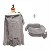 Deluxe Pillow and Nursing Cover - Evening Grey