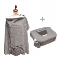 Deluxe Twin Pillow and Nursing Cover - Evening Grey
